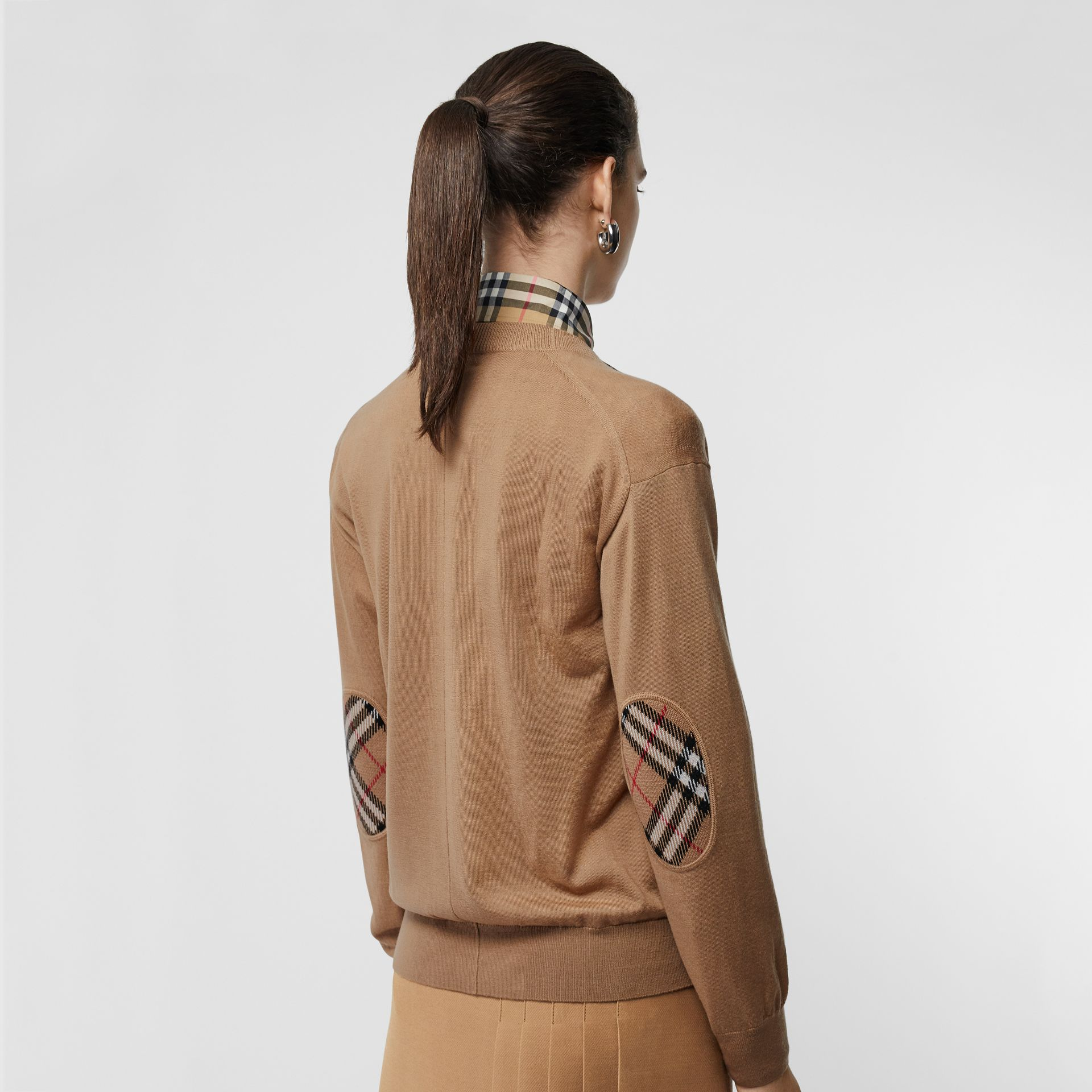 Vintage Check Detail Merino Wool Cardigan in Camel - Women | Burberry Singapore - gallery image 4