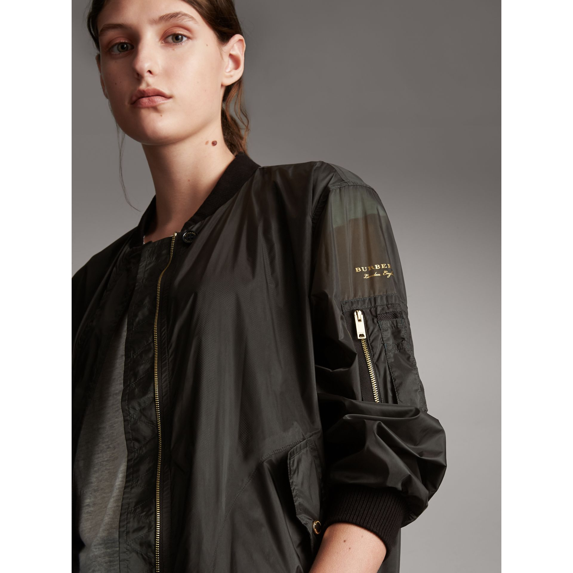 Lightweight Bomber Jacket in Vintage Green - Women | Burberry - gallery image 2