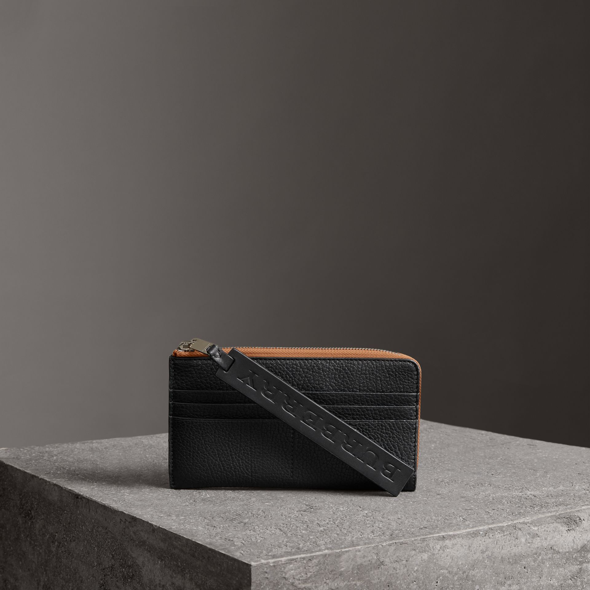 Grainy Leather Travel Wallet in Black - Men | Burberry - gallery image 0