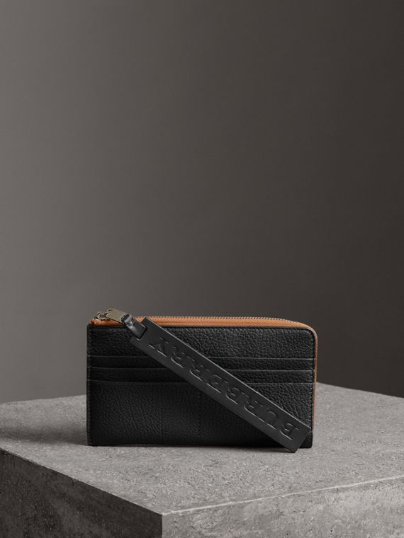 Grainy Leather Travel Wallet in Black