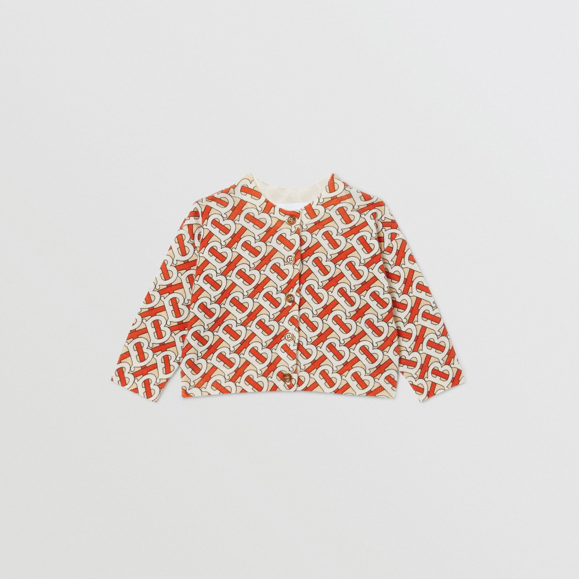 Monogram Print Merino Wool Two-piece Baby Gift Set in Vermilion - Children | Burberry - gallery image 2