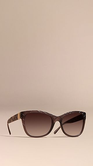 3D Check Square Frame Sunglasses