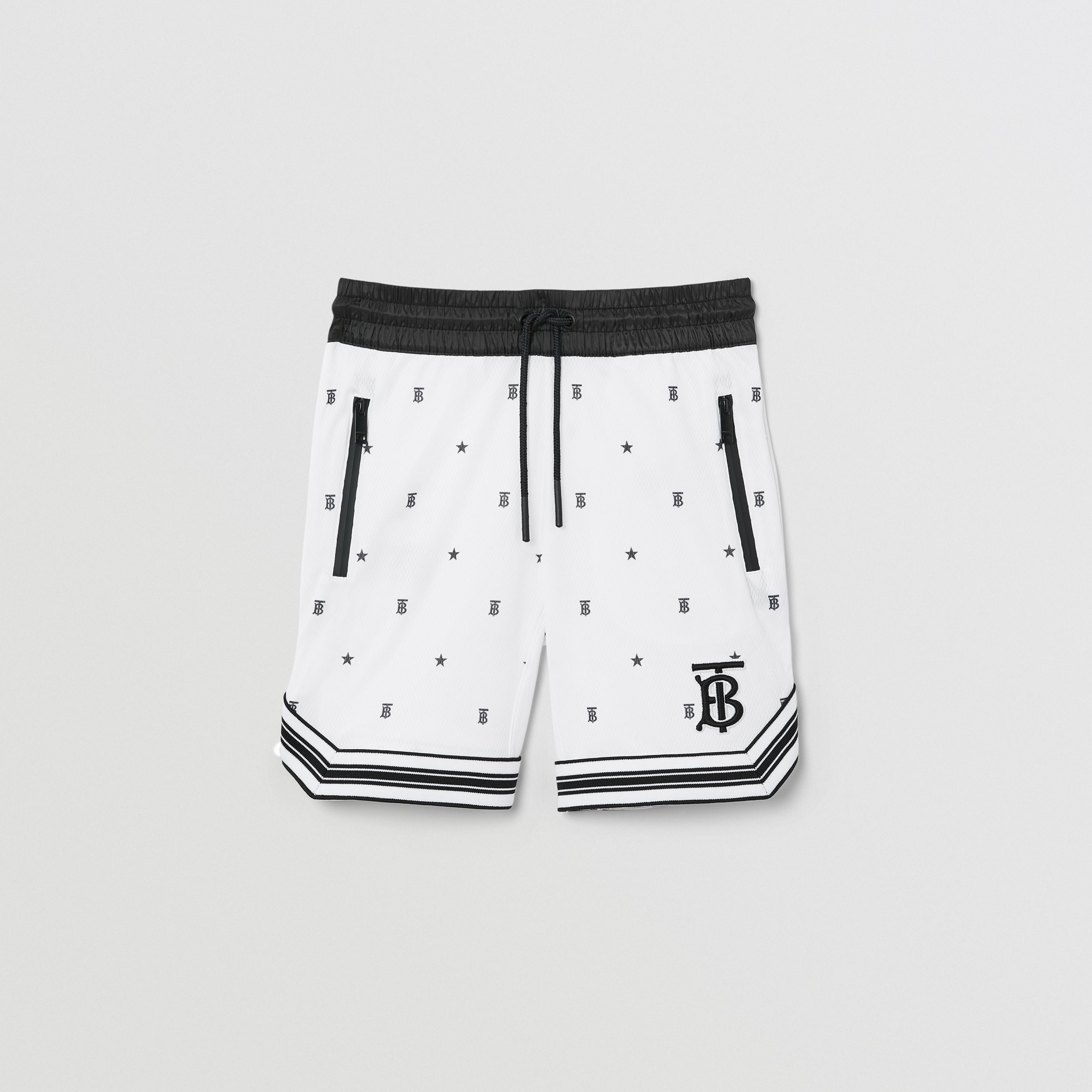 Star and Monogram Motif Jersey Mesh Shorts in Black | Burberry United States - 1