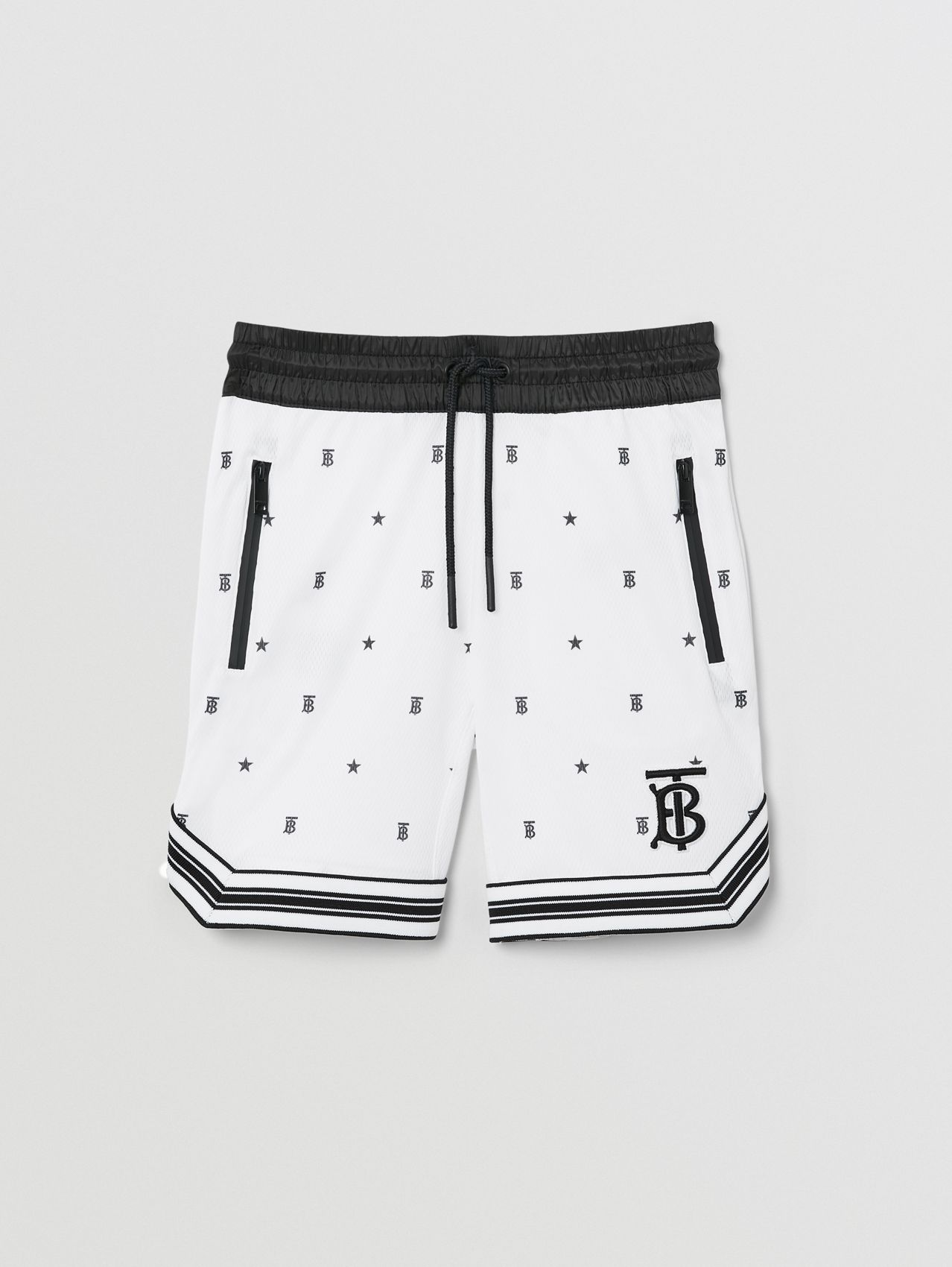 Star and Monogram Motif Jersey Mesh Shorts in Black