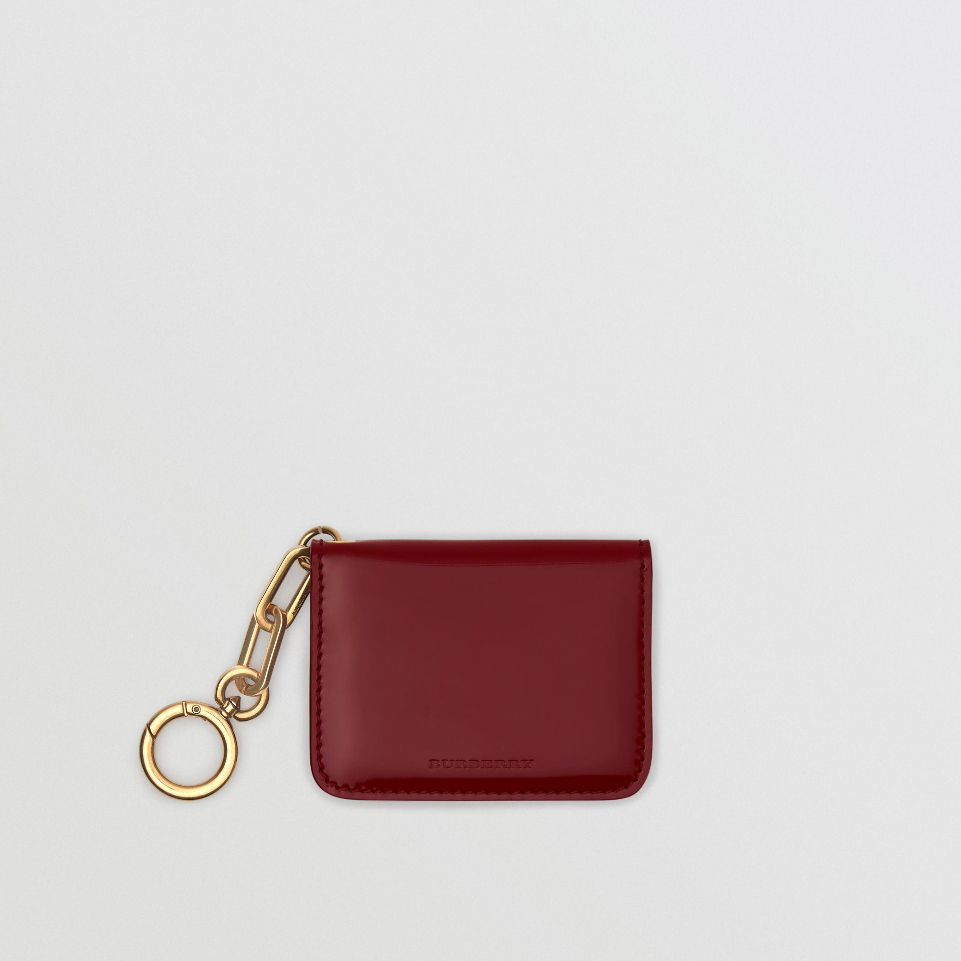 Link Detail Patent Leather ID Card Case Charm in Crimson - Women | Burberry United States - gallery image 0