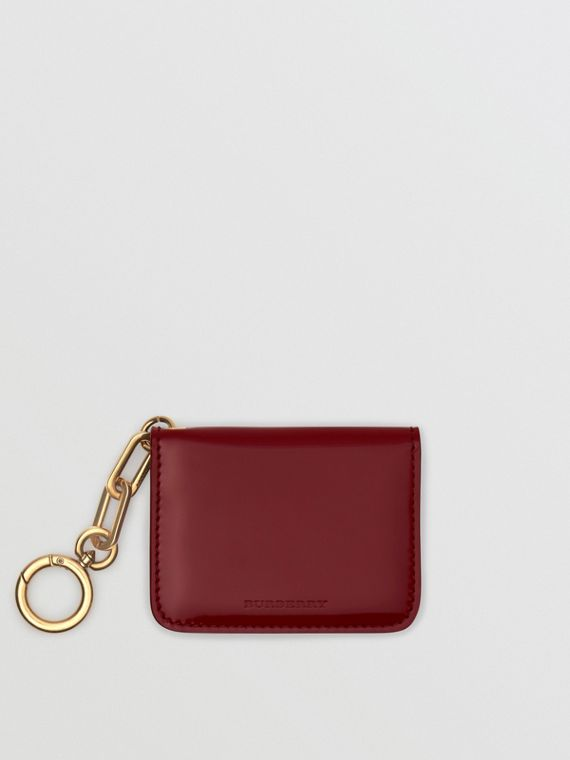 Link Detail Patent Leather ID Card Case Charm in Crimson