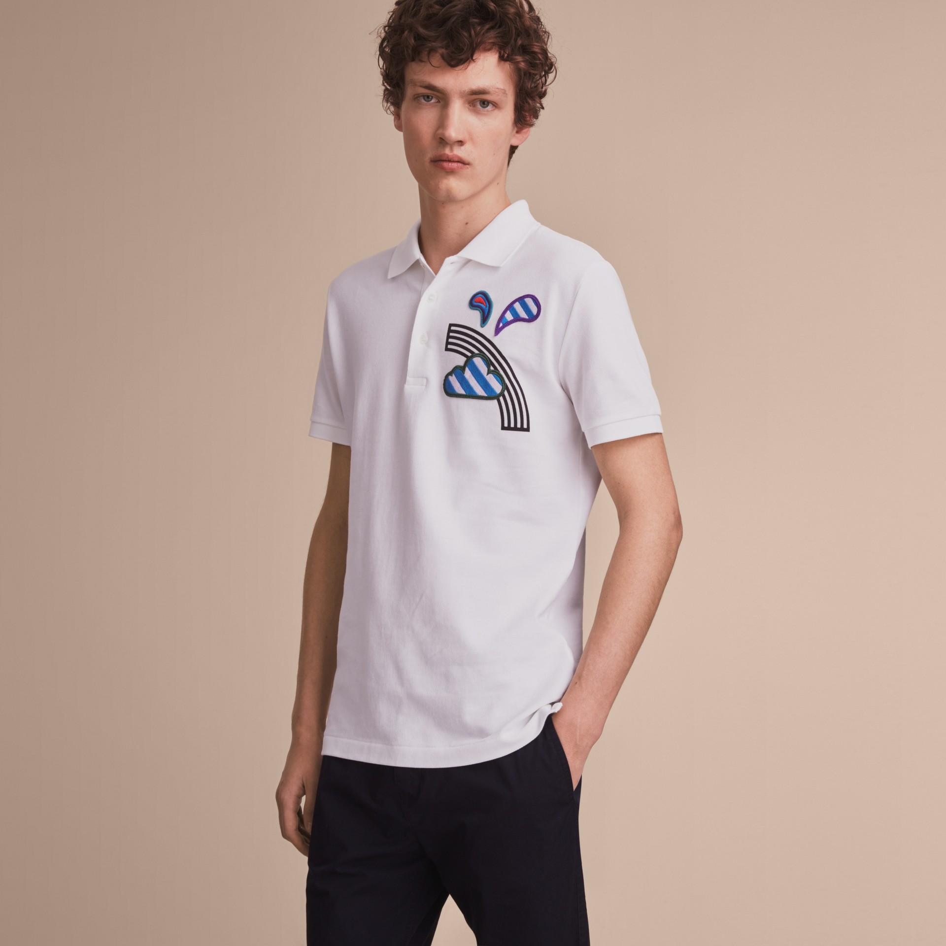 Weather Appliqué Cotton Piqué Polo Shirt White - gallery image 6