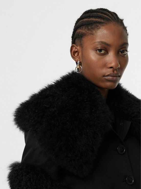 Goat Hair Trim Cotton Gabardine Coat in Black - Women | Burberry United Kingdom - cell image 1