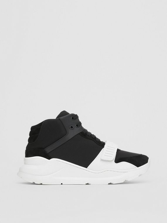 Suede and Neoprene High-top Sneakers in Black/optic White
