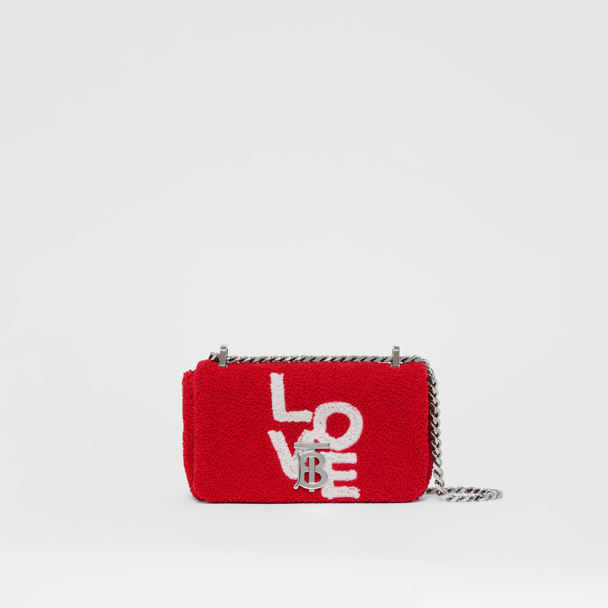 Mini Love Motif Towelling Lola Bag in Red/white - Women | Burberry United States - 1