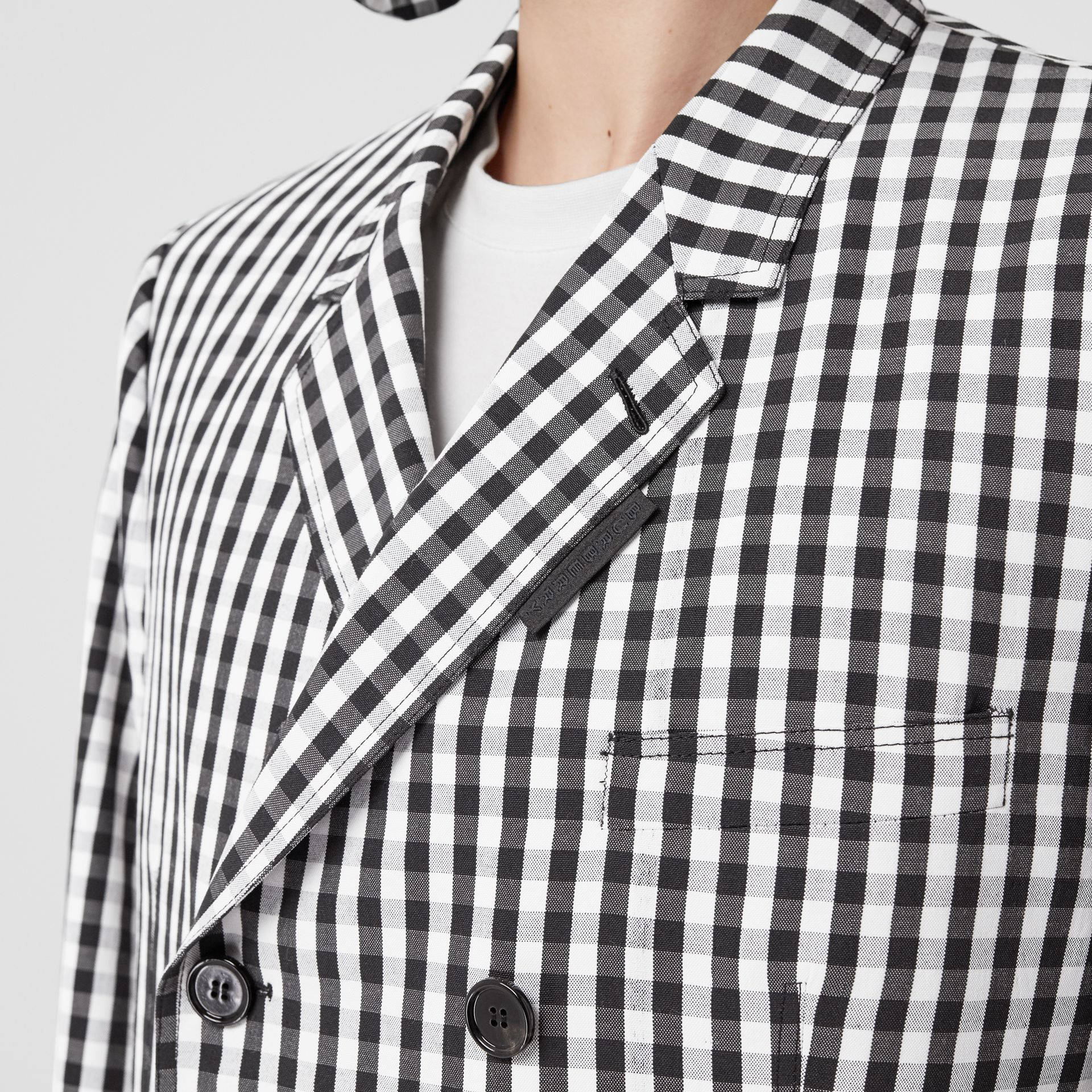 Classic Fit Gingham Technical Wool Blazer in Black | Burberry - gallery image 1