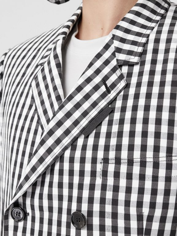 Classic Fit Gingham Technical Wool Blazer in Black | Burberry - cell image 1