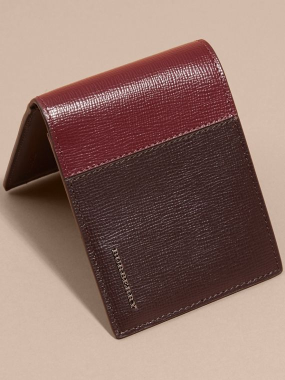 Wine/burgundy red Panelled London Leather Folding Wallet - cell image 2