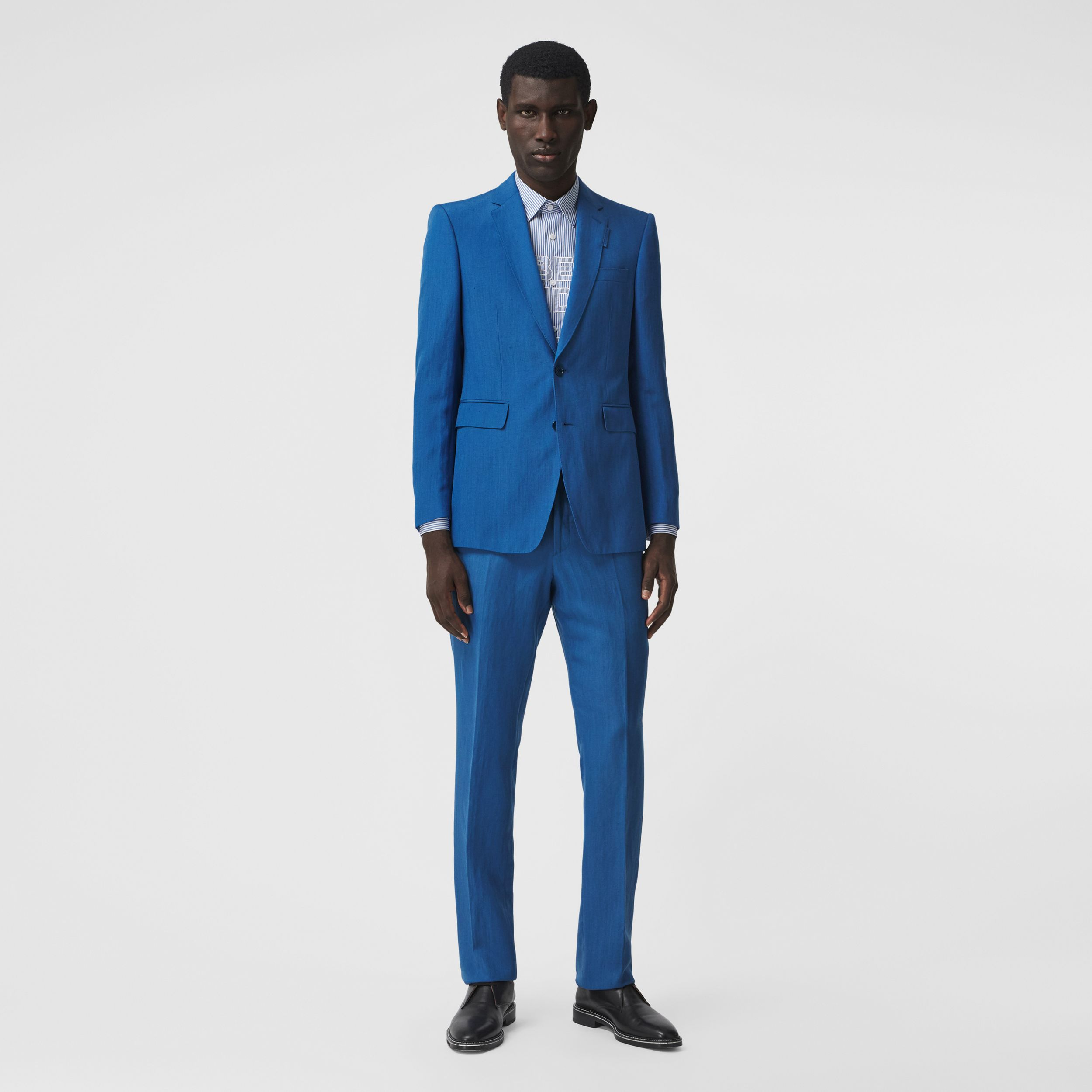Classic Fit Linen Mohair Silk Tailored Trousers in Dark Cerulean Blue - Men | Burberry - 1