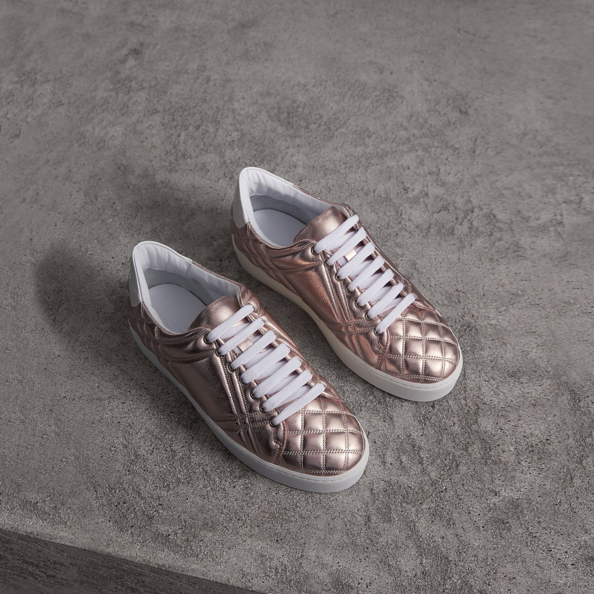 Metallic Check-quilted Leather Sneakers in Nude - Women | Burberry - gallery image 0