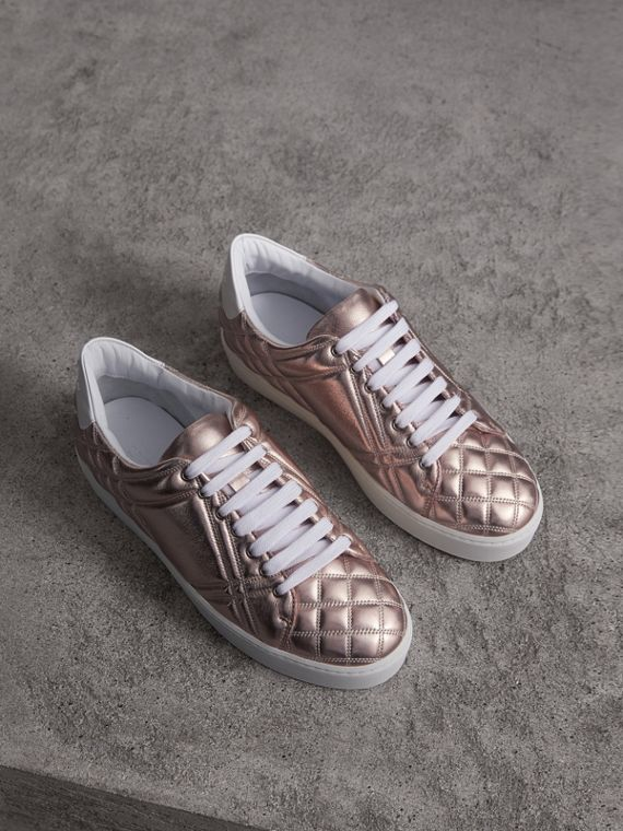 Metallic Check-quilted Leather Sneakers in Nude