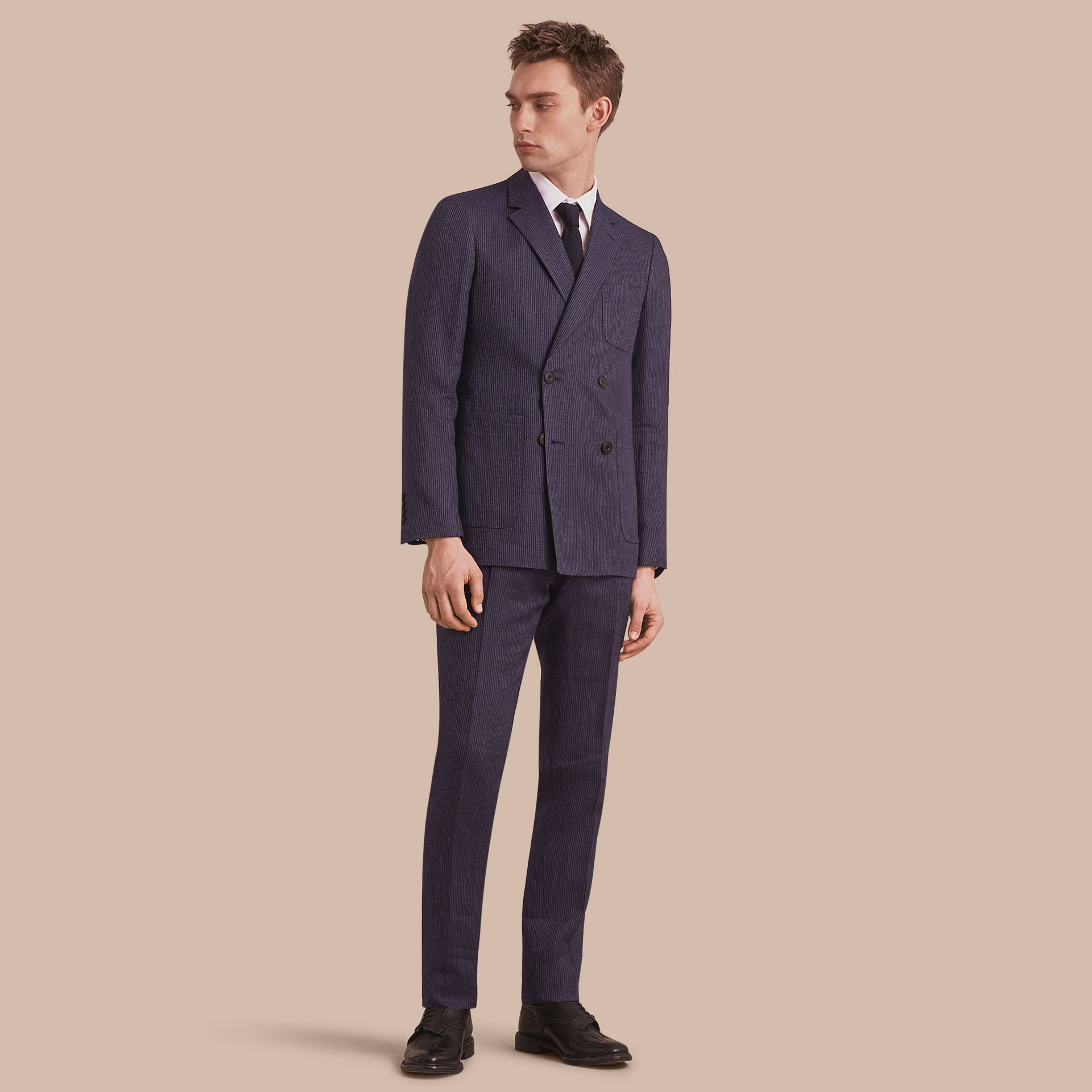 Modern Fit Part-canvas Striped Linen Silk Blend Suit - Men | Burberry - gallery image 1