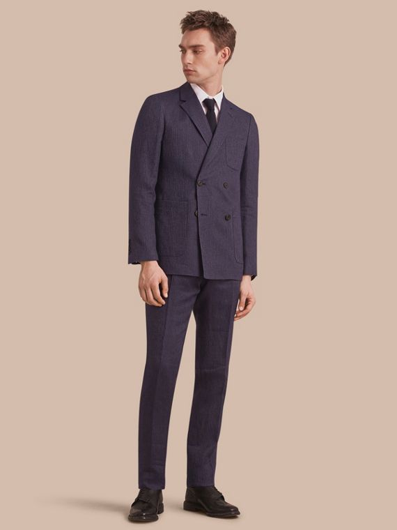 Modern Fit Part-canvas Striped Linen Silk Blend Suit