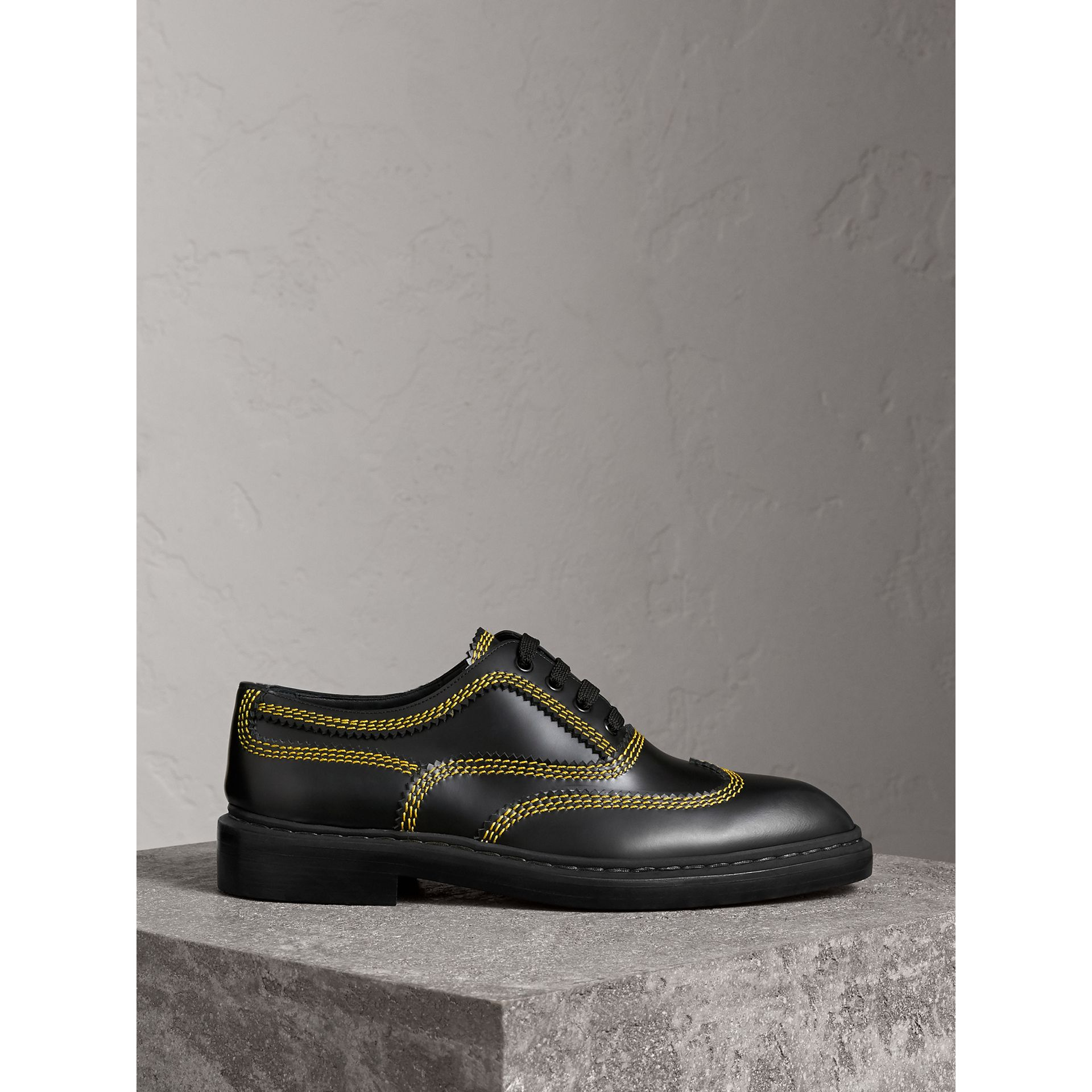Topstitched Leather Derby Shoes in Black - Men | Burberry - gallery image 4