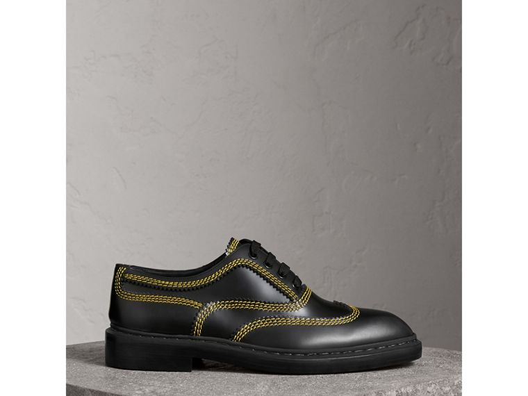 Topstitched Leather Derby Shoes in Black - Men | Burberry Australia - cell image 4