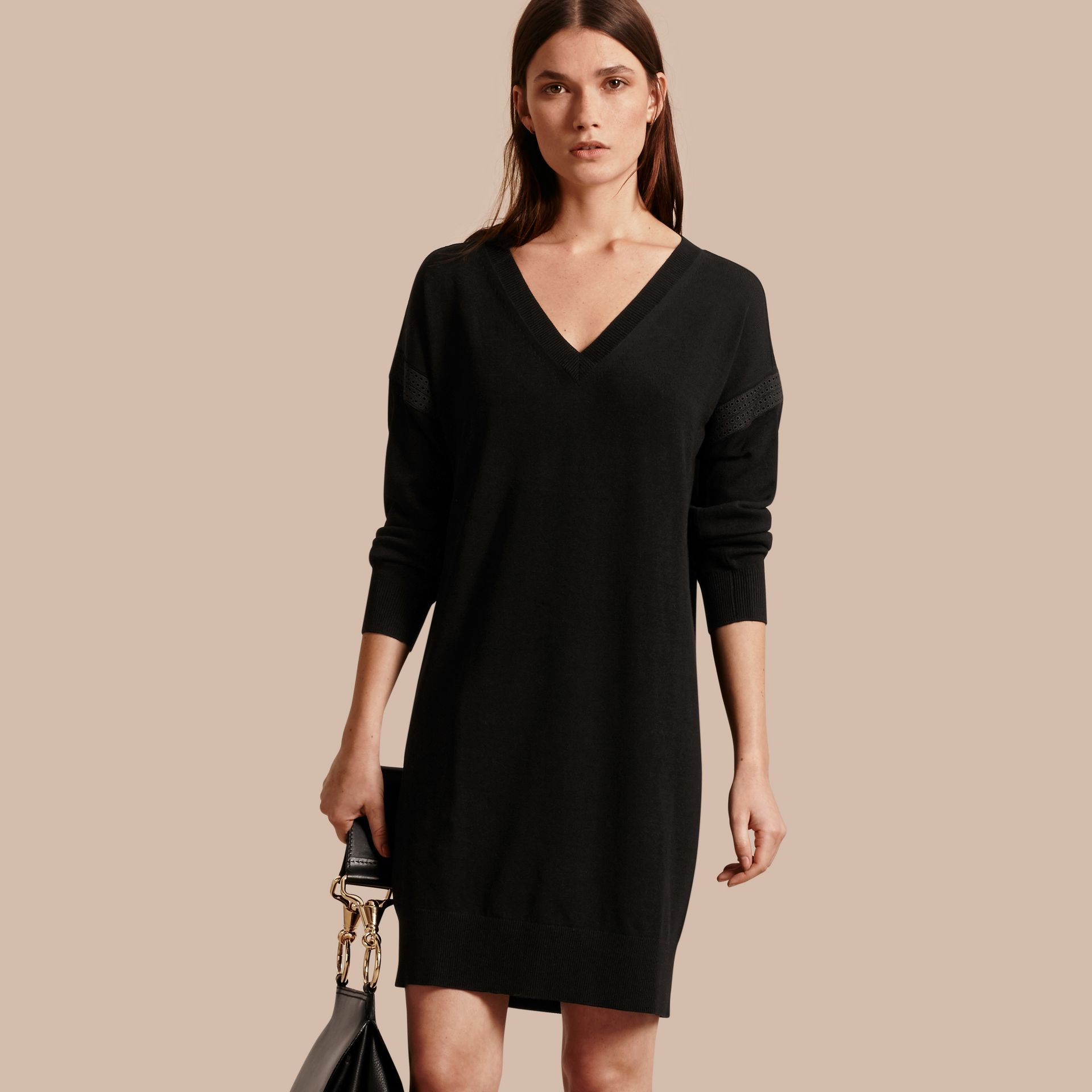 Black Lace-trimmed Merino Wool Dress - gallery image 1