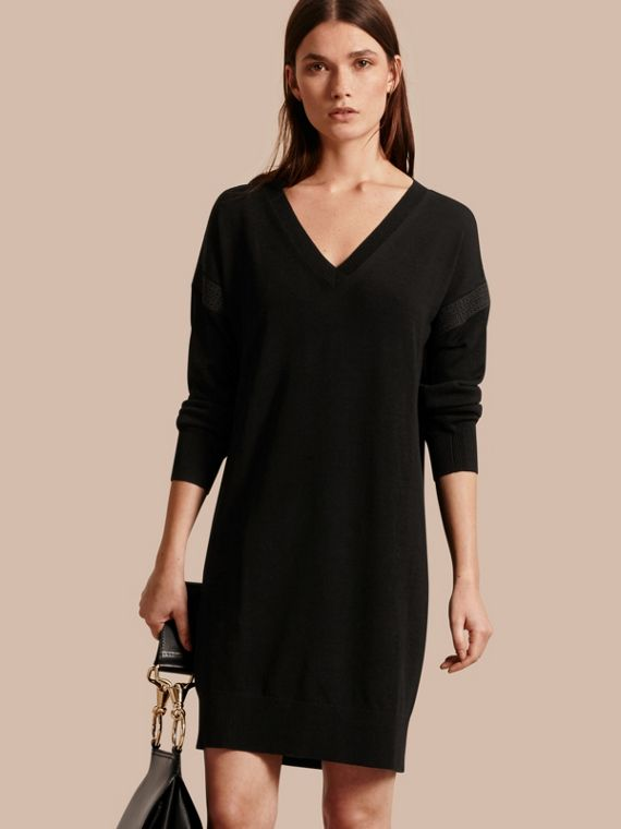 Lace-trimmed Merino Wool Dress