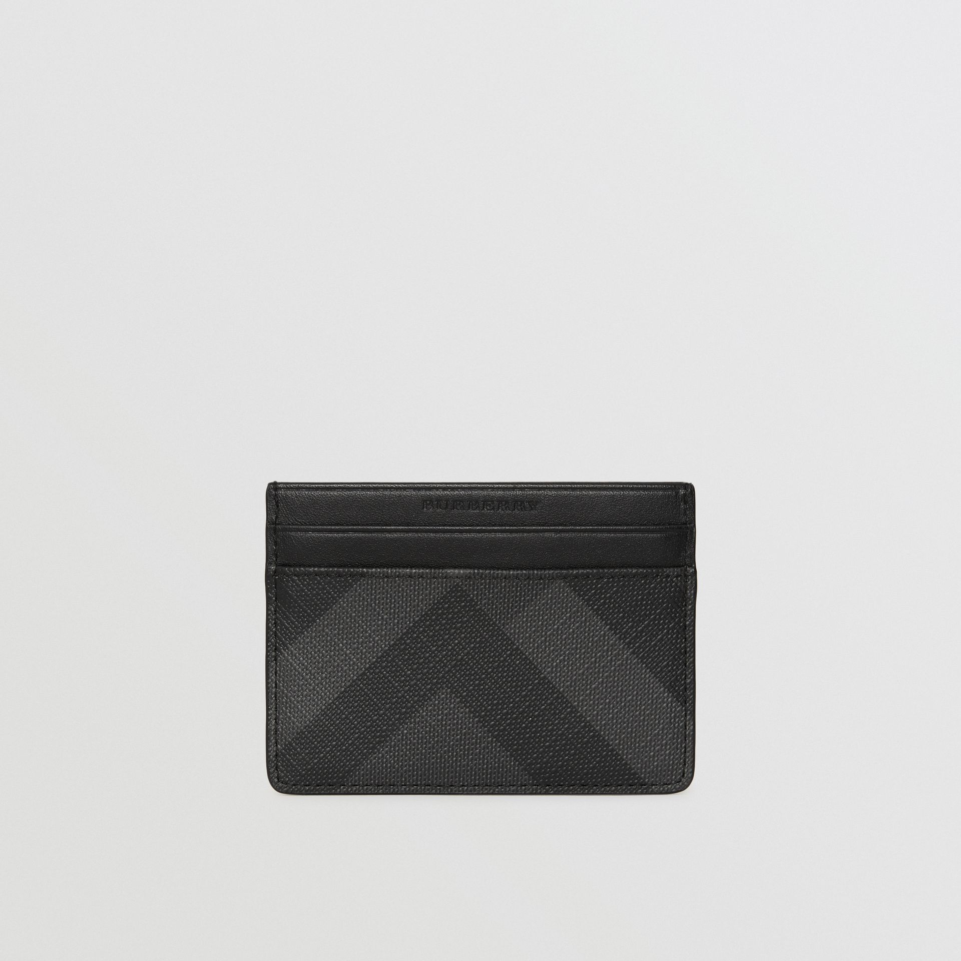 London Check Card Case in Charcoal/black - Men | Burberry United Kingdom - gallery image 2