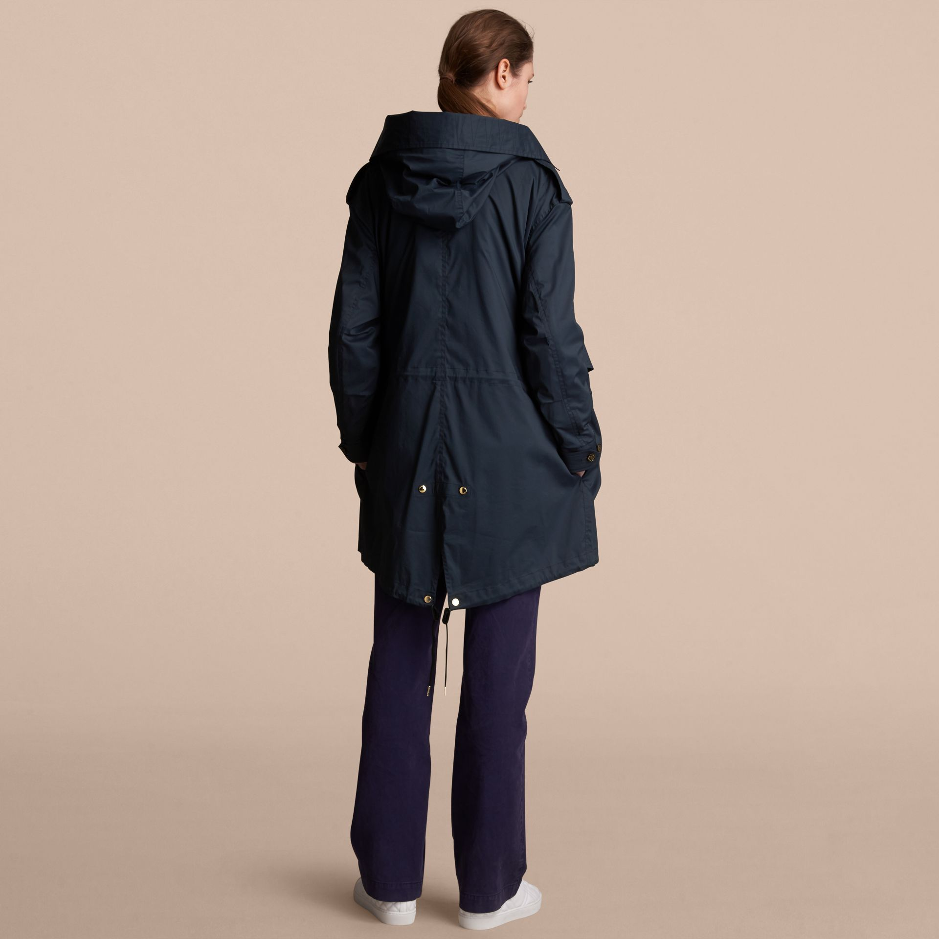 Hooded Water-resistant Parka in Navy - Women | Burberry - gallery image 2