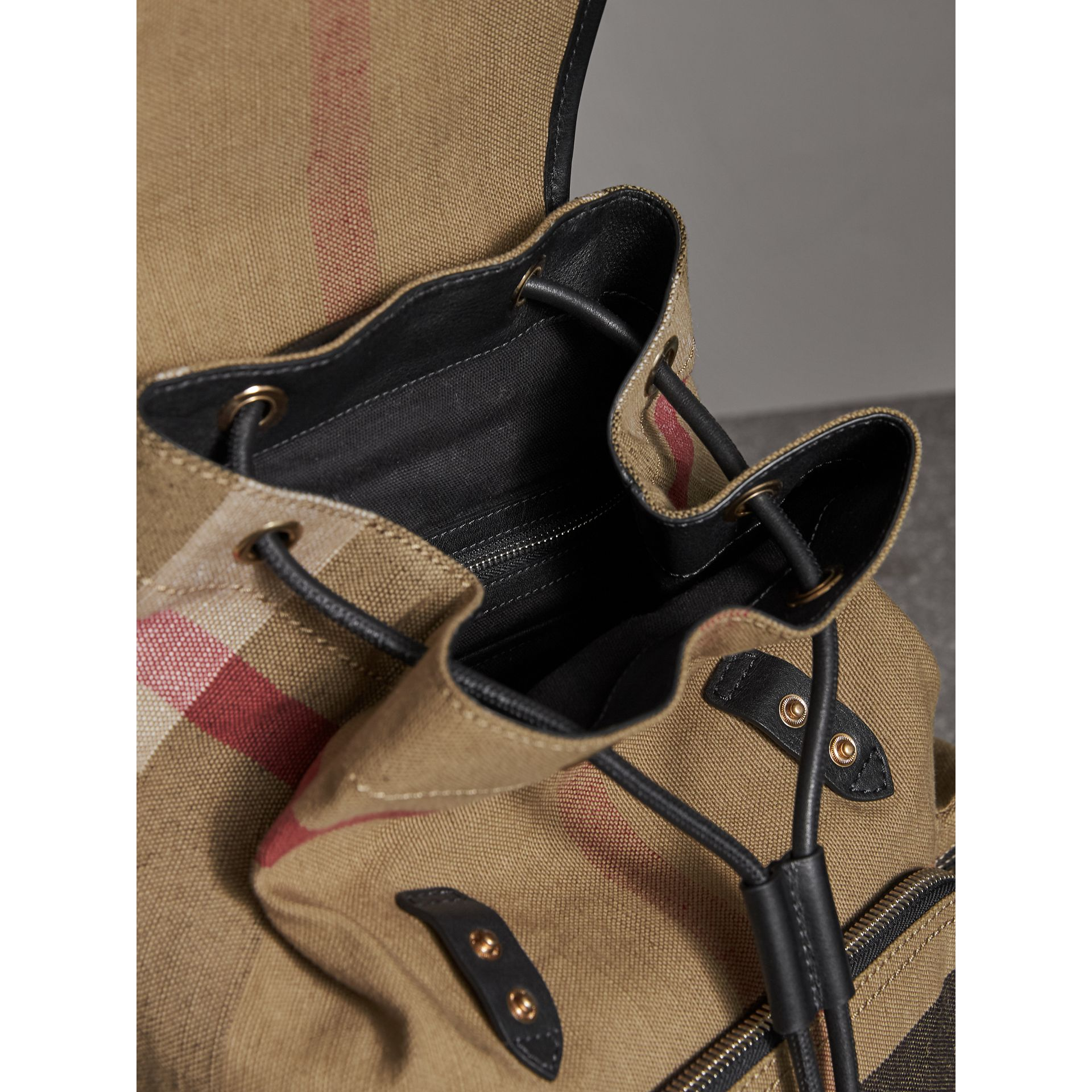 The Medium Rucksack in Canvas Check and Leather in Black - Women | Burberry - gallery image 5