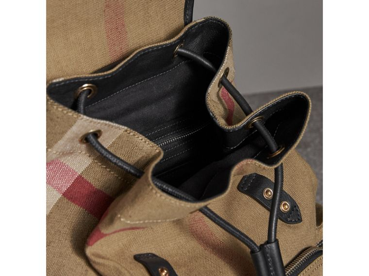 The Medium Rucksack in Canvas Check and Leather in Black - Women | Burberry - cell image 4