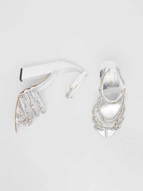 Embellished Split-toe Detail Leather Sandals in Optic White