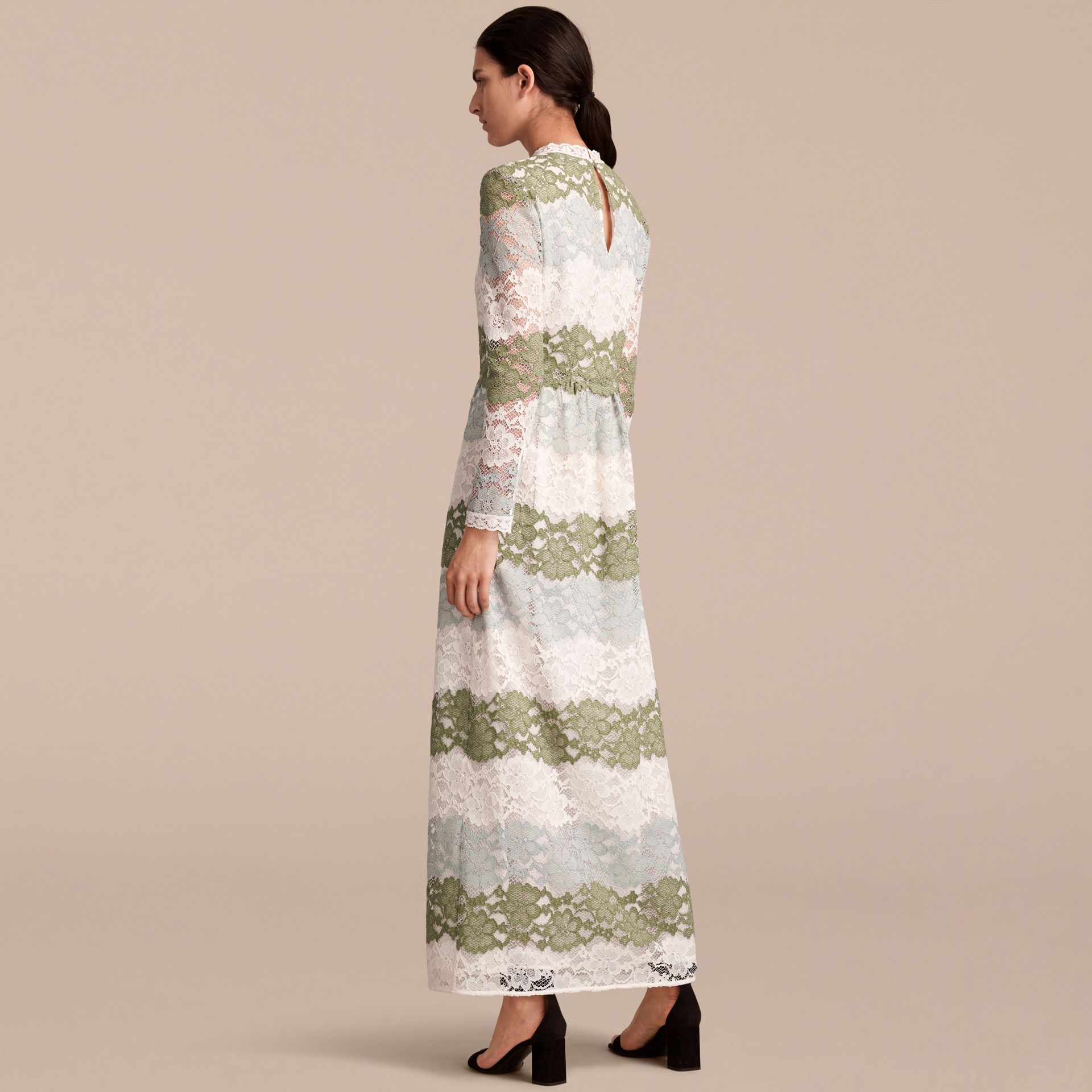 Floor-length Floral Lace Dress in Chalk Green - Women | Burberry - gallery image 3