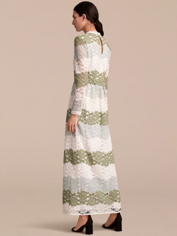 Floor-length Floral Lace Dress in Chalk Green - Women | Burberry - cell image 2