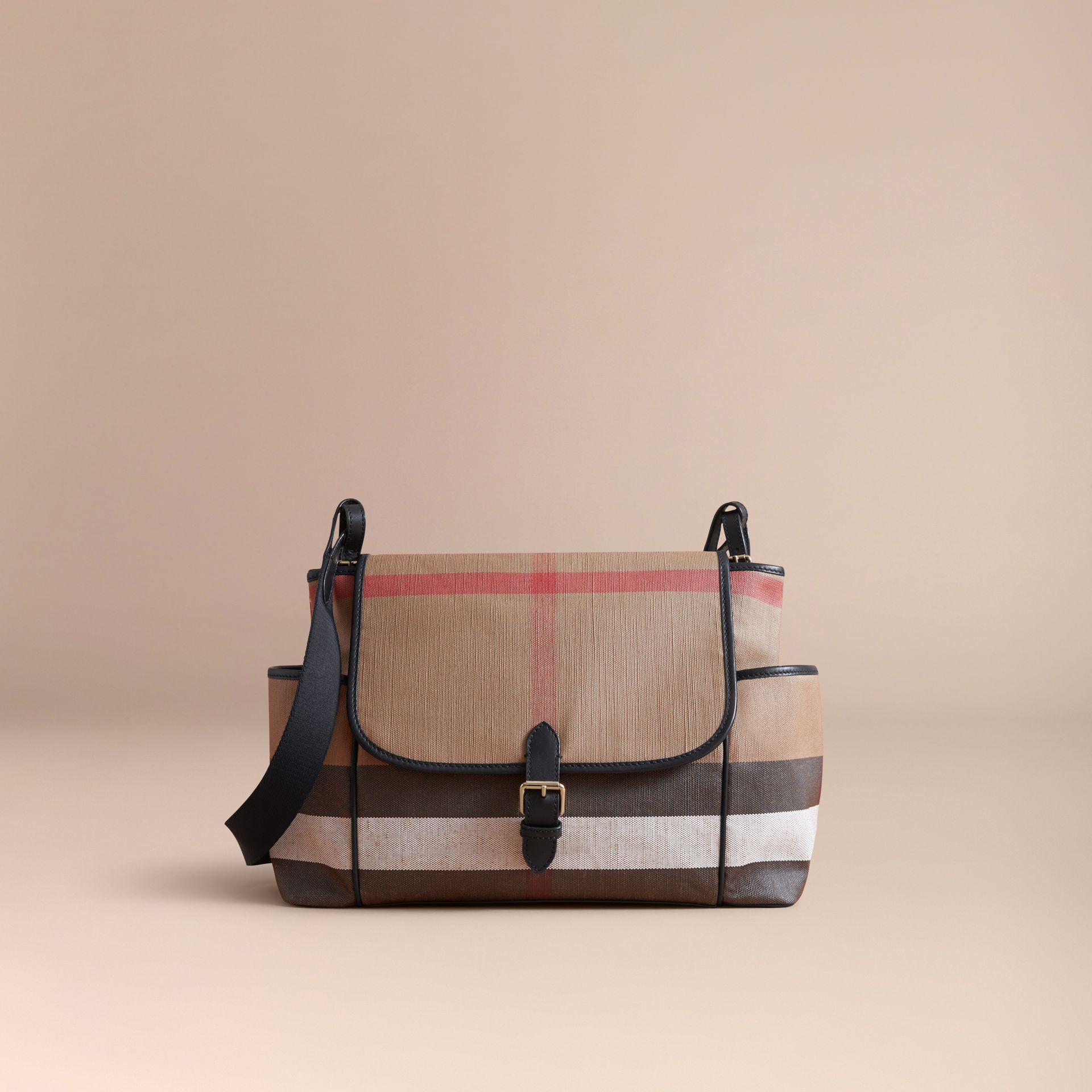 Canvas Check and Leather Baby Changing Shoulder Bag in Black - Children | Burberry - gallery image 5