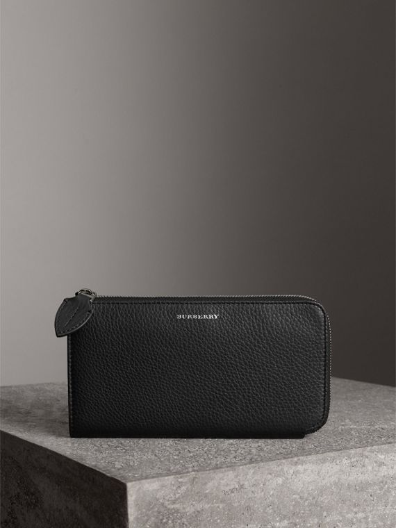 Two-tone Leather Ziparound Wallet and Coin Case in Black