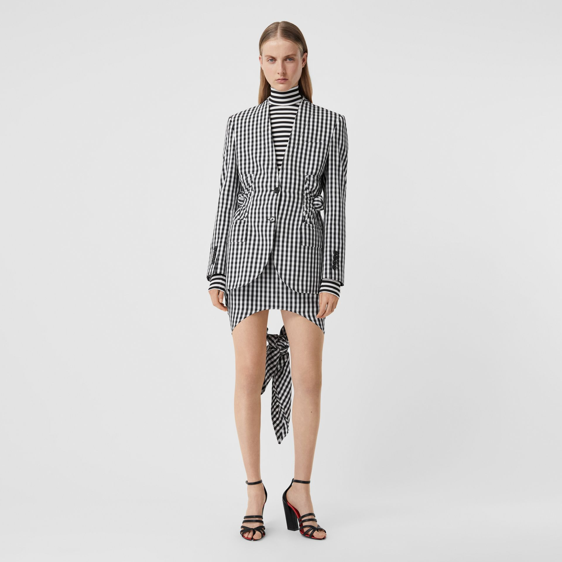 Gingham Technical Wool Blazer in Black - Women | Burberry - gallery image 5