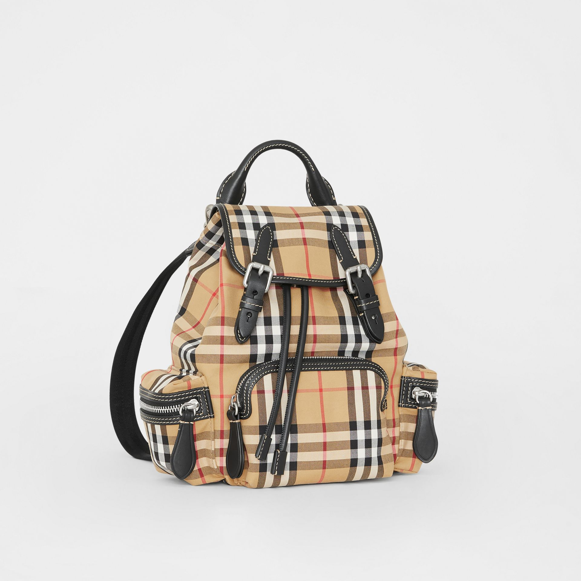 The Small Rucksack in Vintage Check and Leather in Antique Yellow - Women | Burberry - gallery image 7