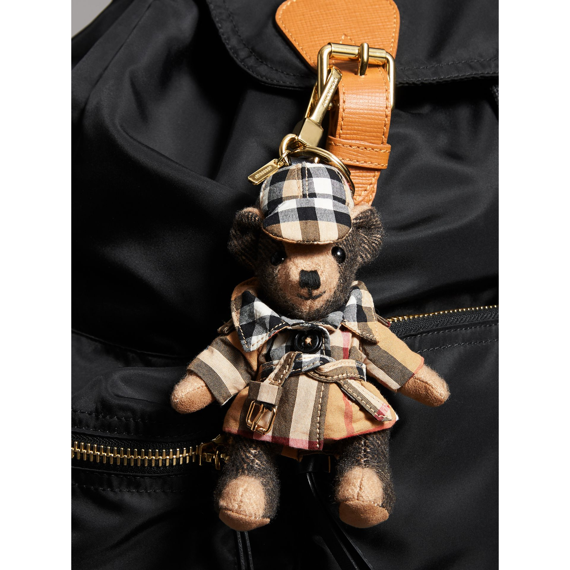 Thomas Bear Charm in Vintage Check Trench Coat in Camel | Burberry Canada - gallery image 3