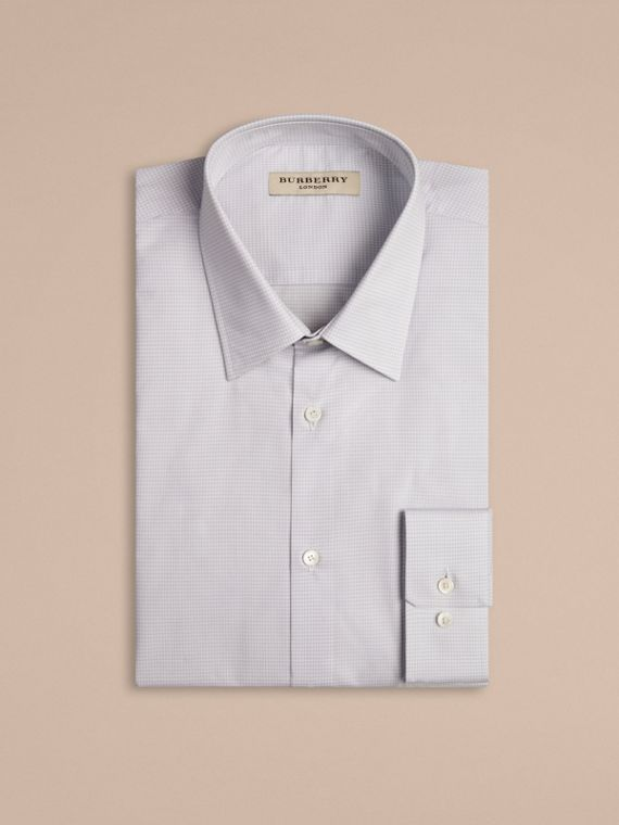 City grey Modern Fit Gingham Cotton Poplin Shirt - cell image 3