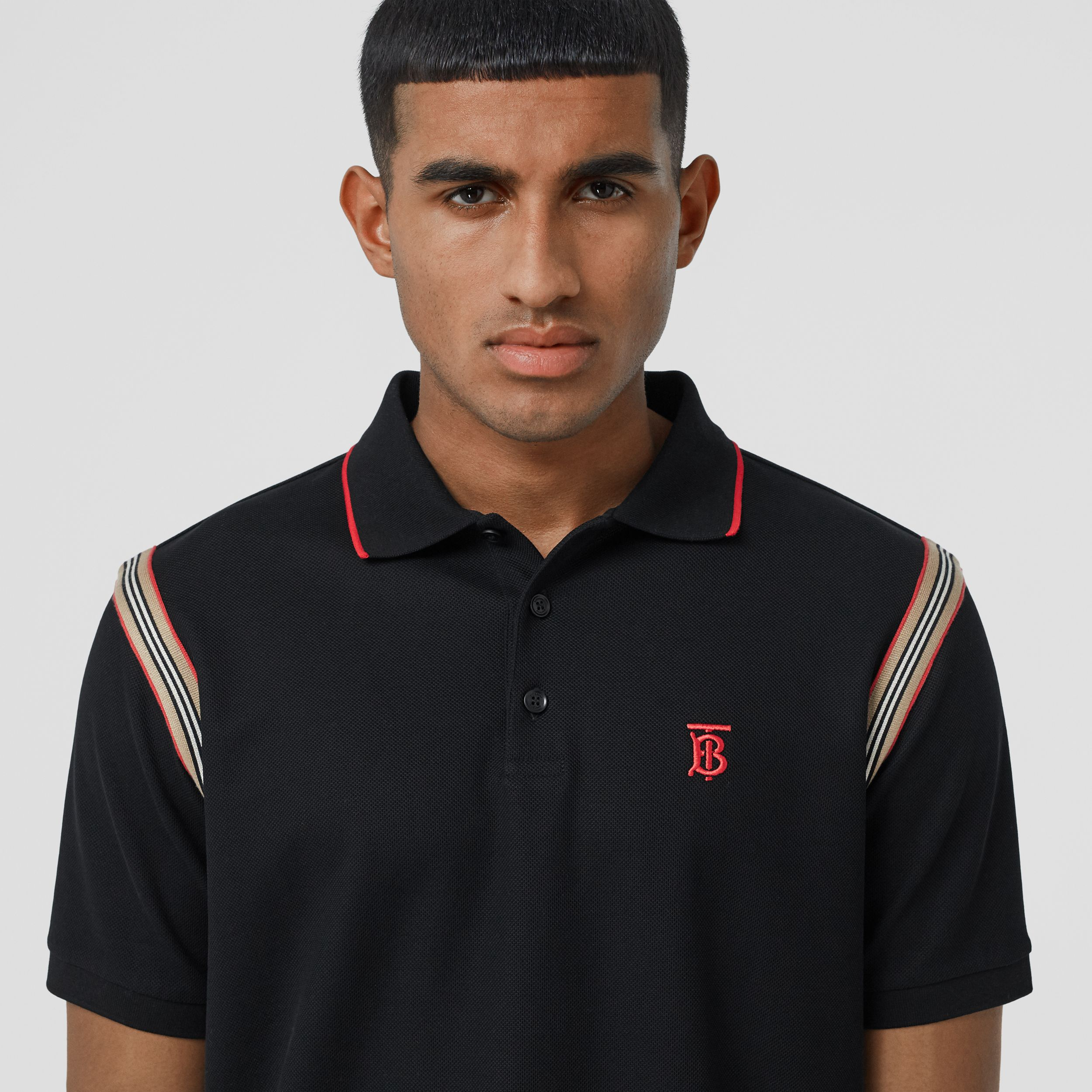 Icon Stripe Trim Monogram Motif Cotton Polo Shirt in Black - Men | Burberry - 2