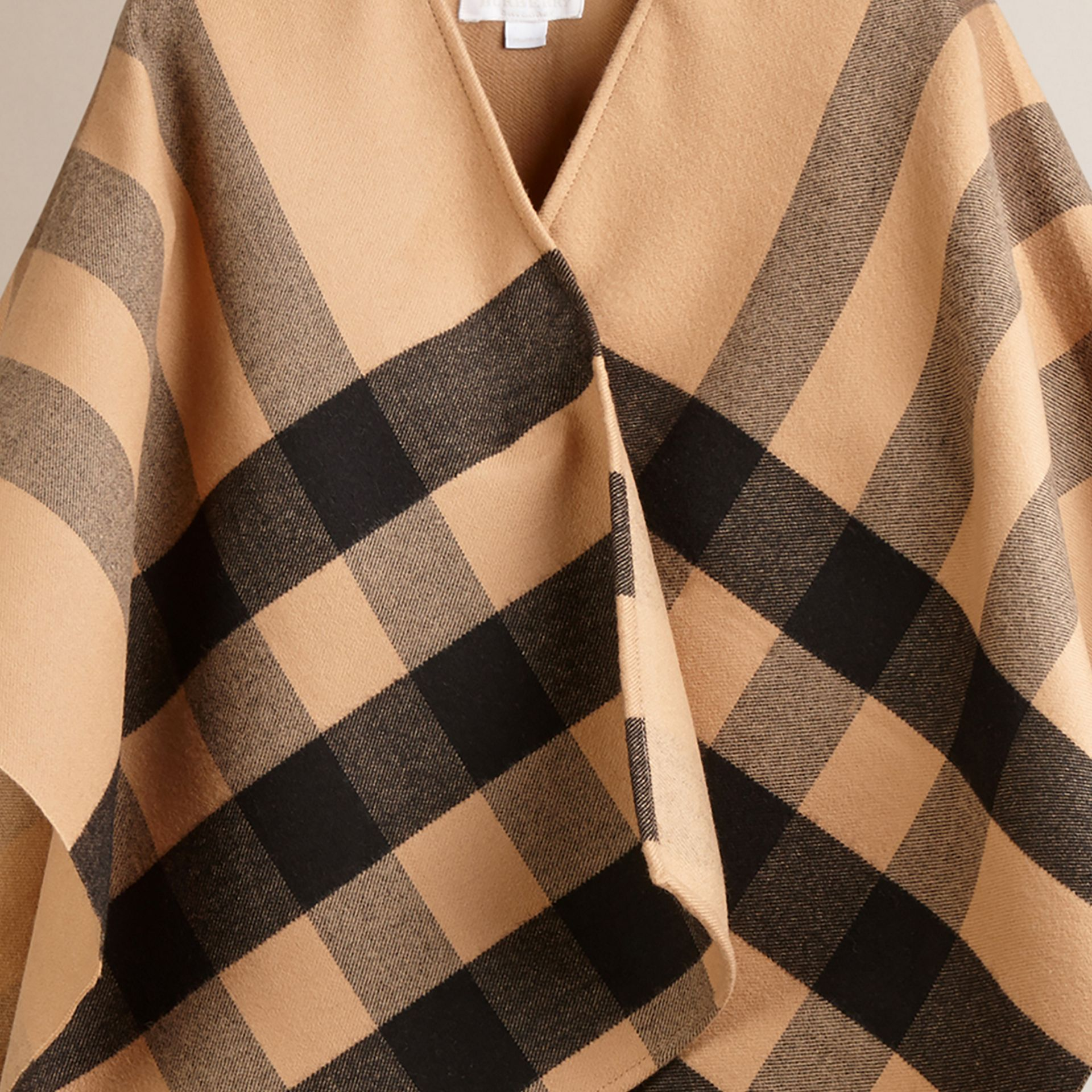 Check Wool Cape in Camel - gallery image 3