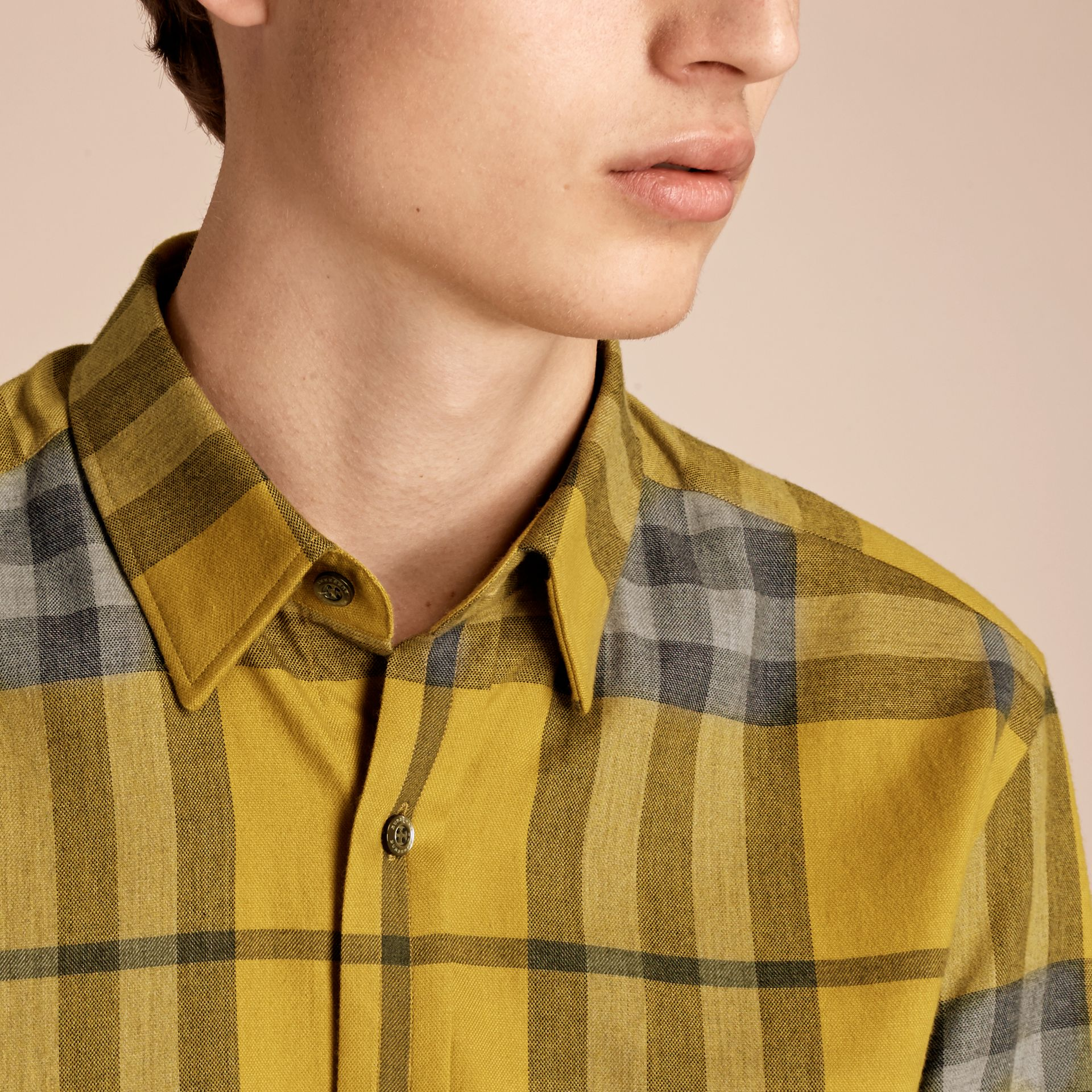 Larch yellow Check Cotton Cashmere Flannel Shirt Larch Yellow - gallery image 5