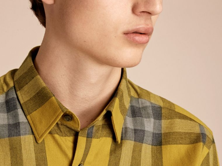 Check Cotton Cashmere Flannel Shirt in Larch Yellow - cell image 4