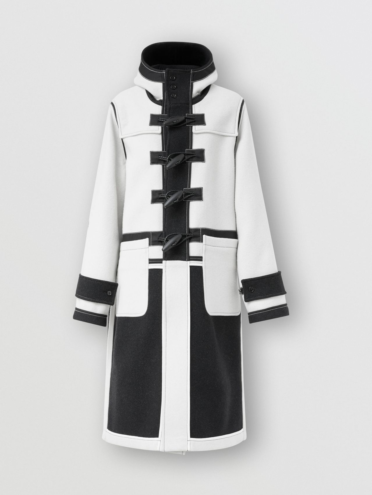 Two-tone Double-faced Wool Duffle Coat in White