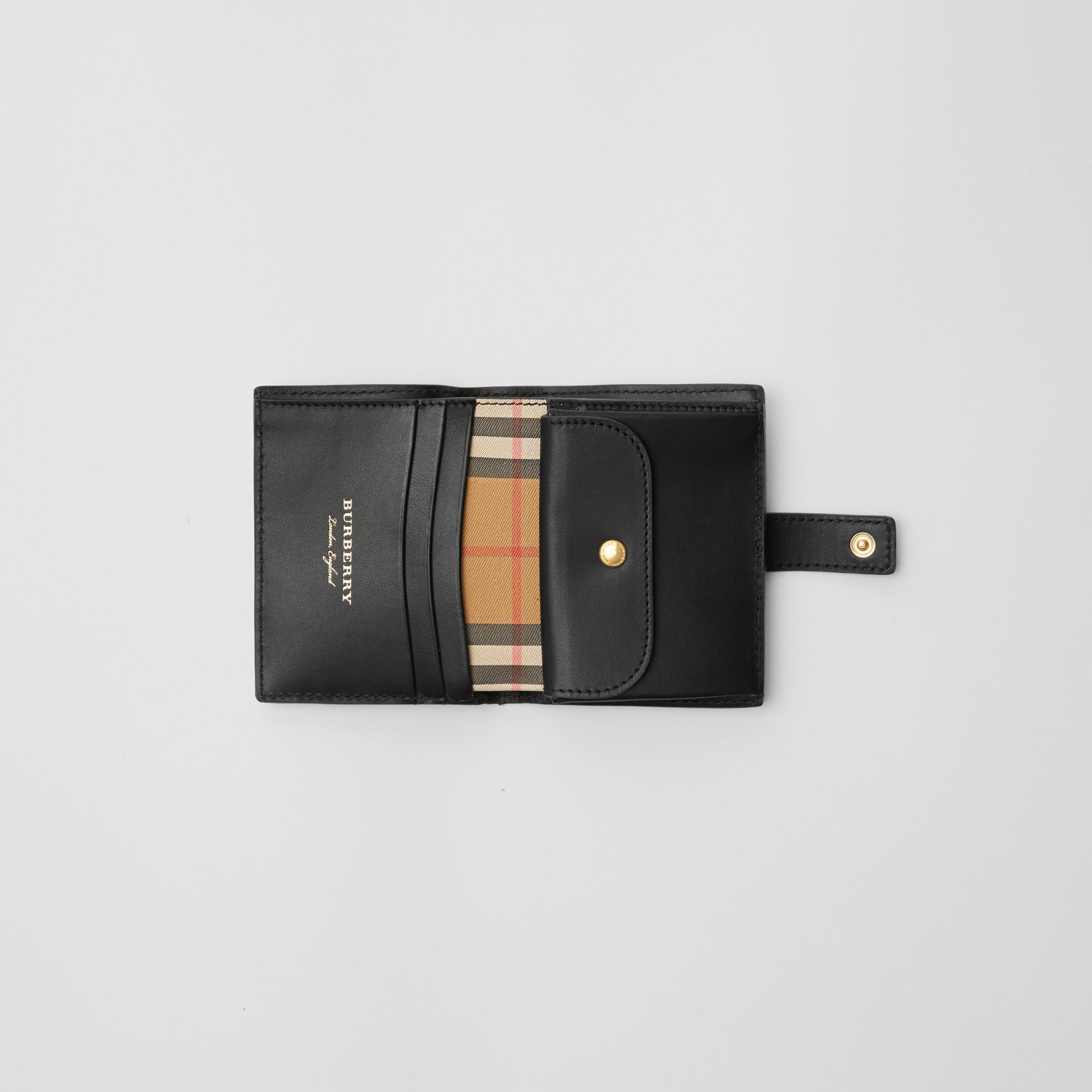 Small Vintage Check and Leather Folding Wallet in Black - Women | Burberry Canada - gallery image 3
