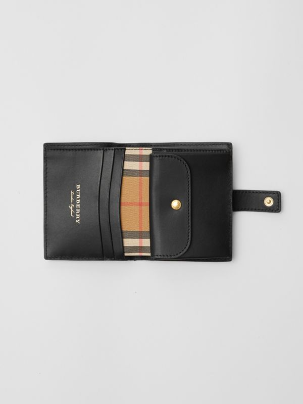 Small Vintage Check and Leather Folding Wallet in Black - Women | Burberry United Kingdom - cell image 3
