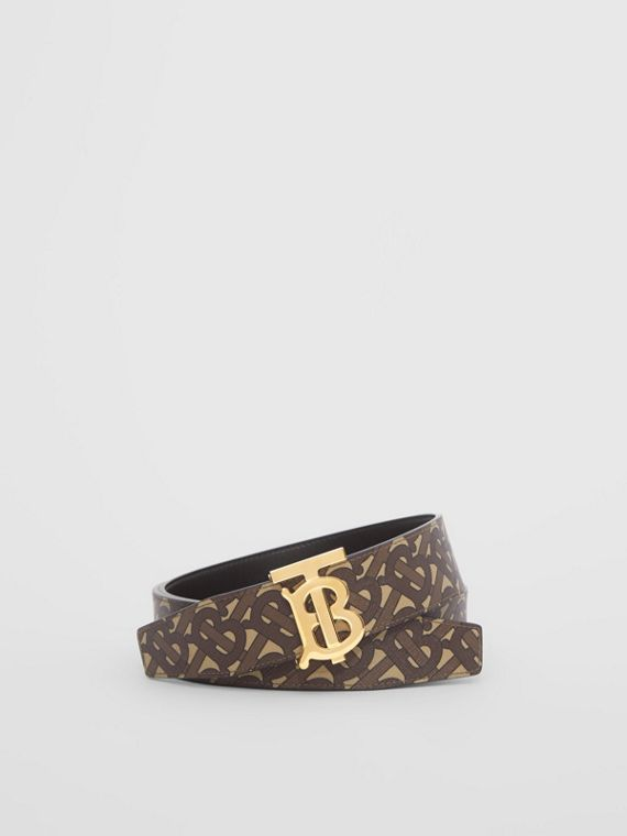 Reversible Monogram E-canvas and Leather Belt in Bridle Brown