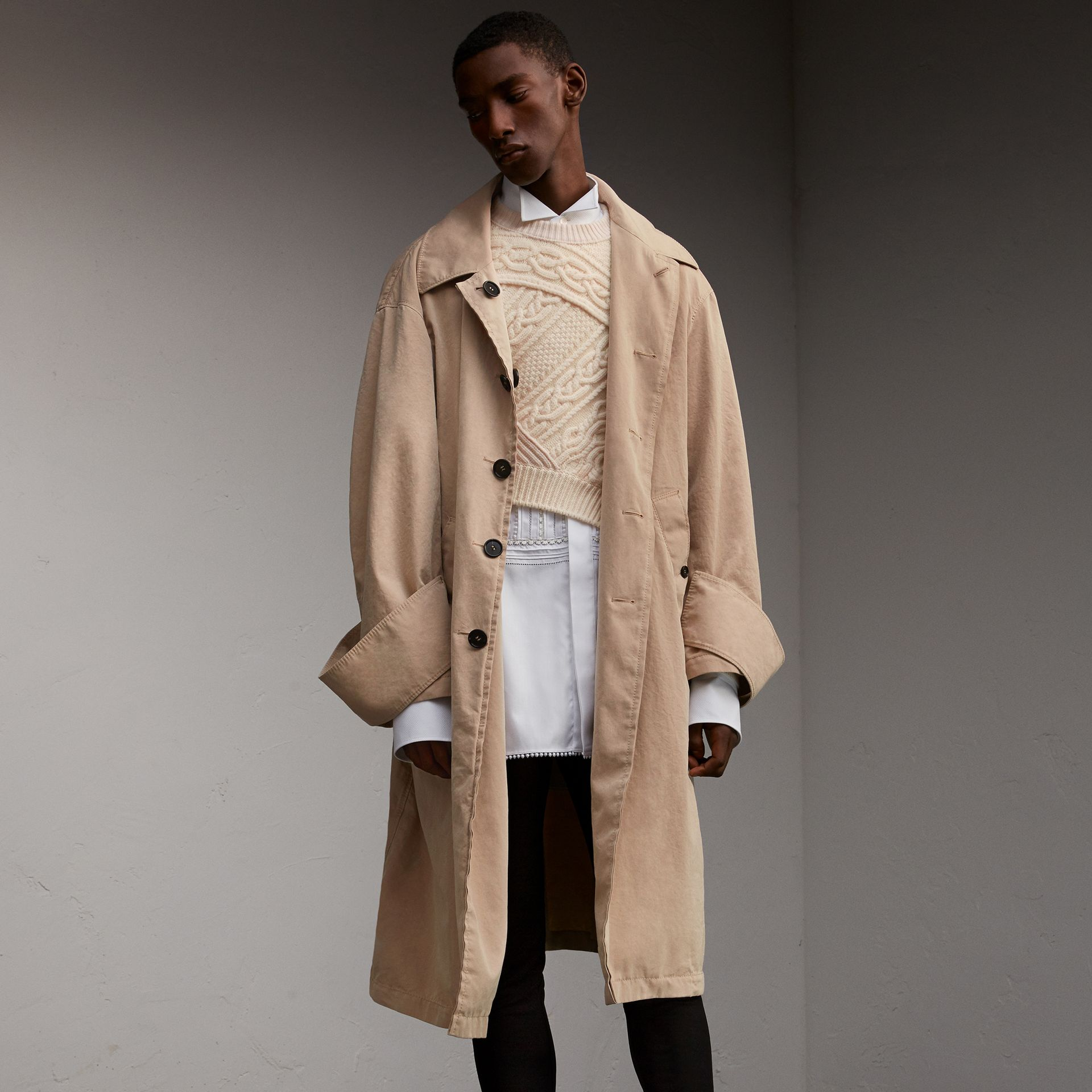 Unisex Tropical Gabardine Car Coat with Exaggerated Cuffs - Men | Burberry - gallery image 1
