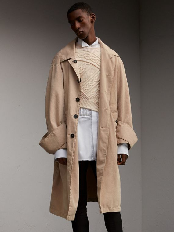 Unisex Tropical Gabardine Car Coat with Exaggerated Cuffs - Men | Burberry Australia