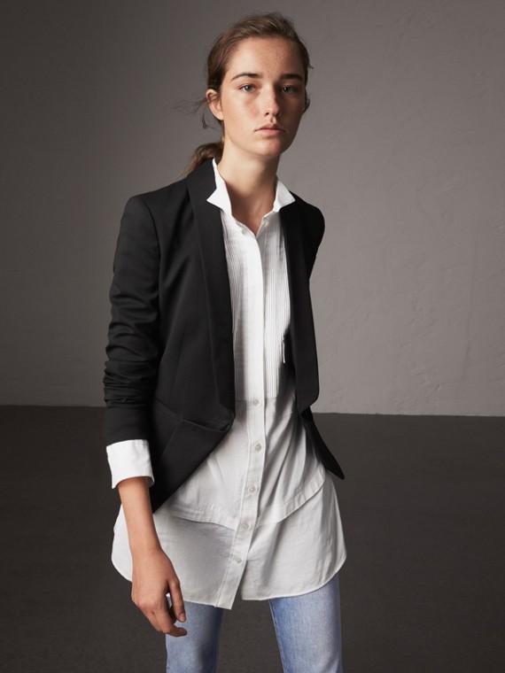 Chaqueta de vestir en lana con cintura ceñida (Negro)